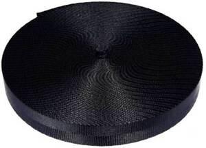 25 Yards 1 Inch 2 Panel Black Lite Weight Nylon Webbing Closeout