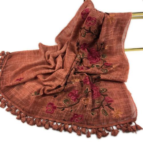 Embroidery Tassel Hijab Shawl Fashion Cotton Linen Lady Scarf Head Wrap Turban