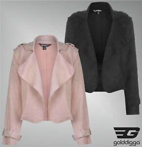 Ladies-Branded-Golddigga-Stylish-Open-Front-Layered-Crop-Suede-Jacket-Size-8-14