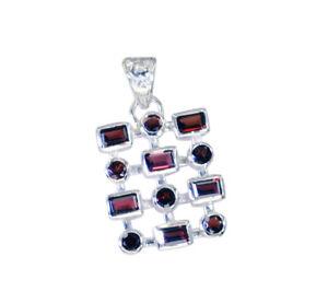 Granat-925-Sterling-Silber-rot-Anhaenger-natuerlichen-Grosshandel-de-Geschenk