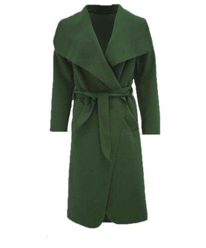 Womens Waterfall Belted Italian Drape Long Trench Coat Ladies Blazer Jacket 8 22
