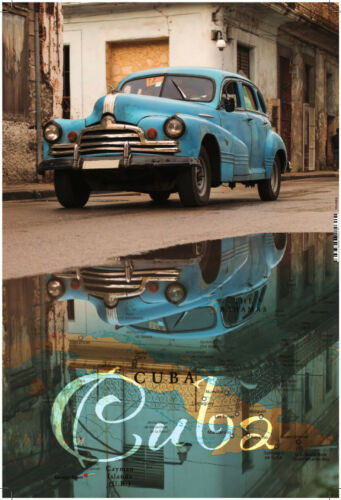 Cuba Cuba Oldtimer Blue Tin Sign Curved Metal Tin Sign 20 x 30 CM