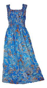 100-Cotton-Long-Boho-Maxi-Dress-Party-Evening-Size-14-16-18-20-22-24-April