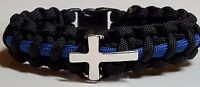 thin Blue Line Police Chaplain Paracord Bracelet; Religious Police Jewelry