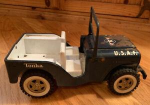 Vintage-Tonka-1960-039-s-US-Air-Force-Willy-039-s-Jeep-Truck-Dark-Blue-Pressed-Steel