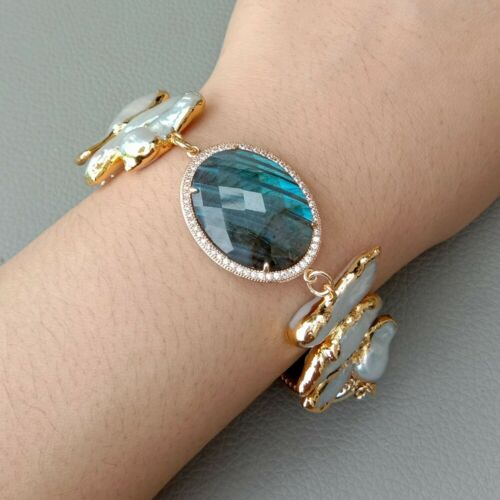 "Cultured White Biwa Perle Or Jaune plateed Labradorite Bracelet 8/"""