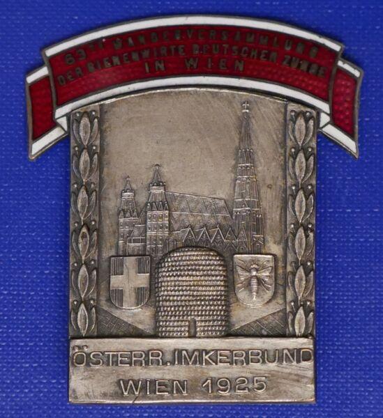 1925 63. Versam.bienenwirte Deutscher Zunge In Wien Emailliertes Imker Abzeichen