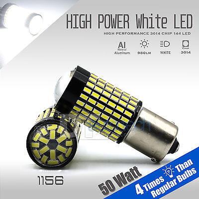 2X 1000 Lumens 1156 50W High Power Chip LED White Reverse Back Up Lights Bulbs