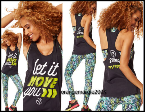 ZUMBA 3Pc.SET Voltage Leggings Instructor Loose Tank Let It Move You Bra Top