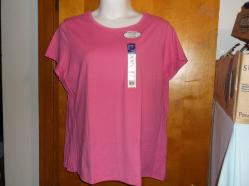 NEW JUST MY SIZE FUSION SOFT RELAXED CREW NECK PULLOVER in SOLID STRAWBERRY