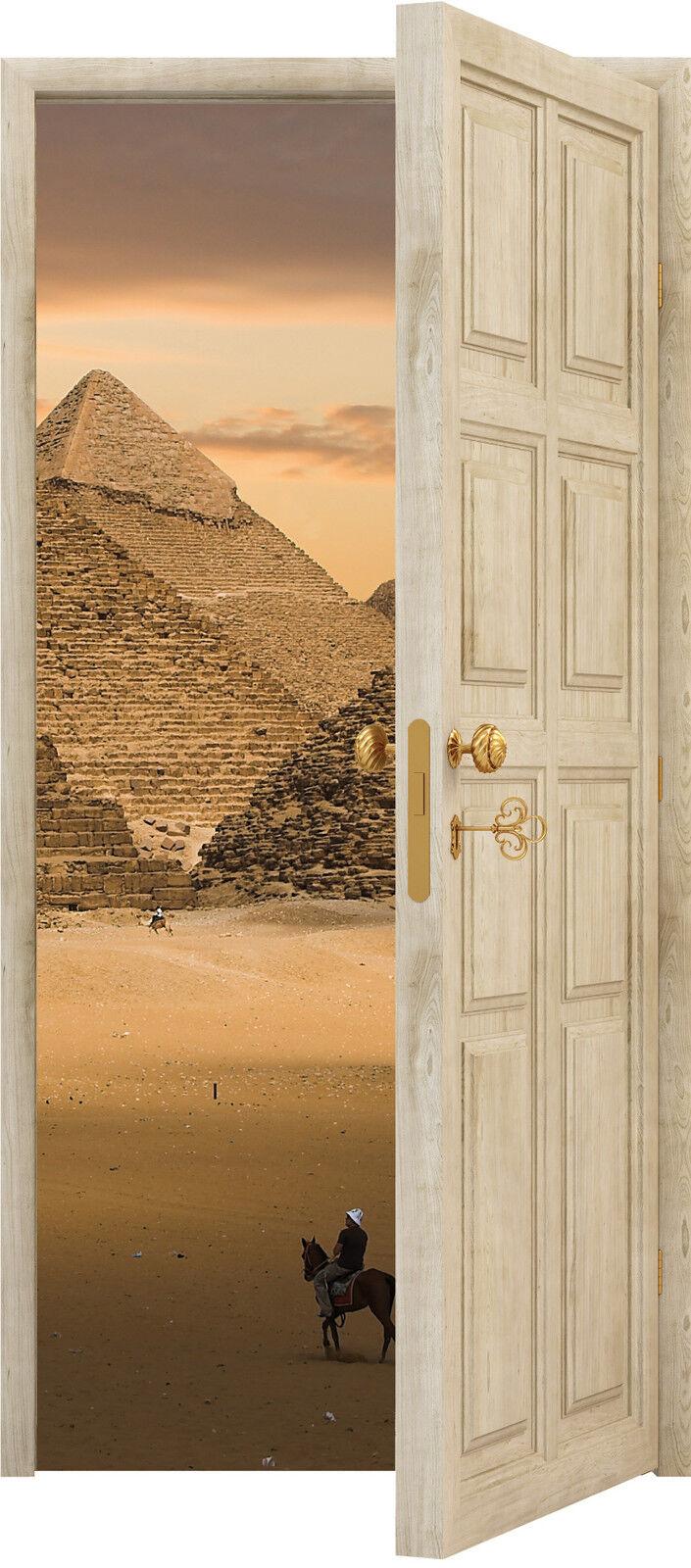 Adhesivo Puerta Trompa Trampantojo Decoración de Pared Pirámide Ref 840 (