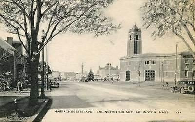 Arlington MA Square Old Cars Postcard Print