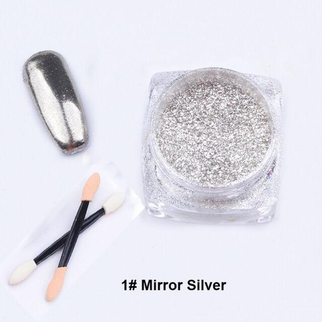 Mirror Gold/Sliver Shinning 2g/box Powder Nail Art Chrome Pigment Glitters DIY