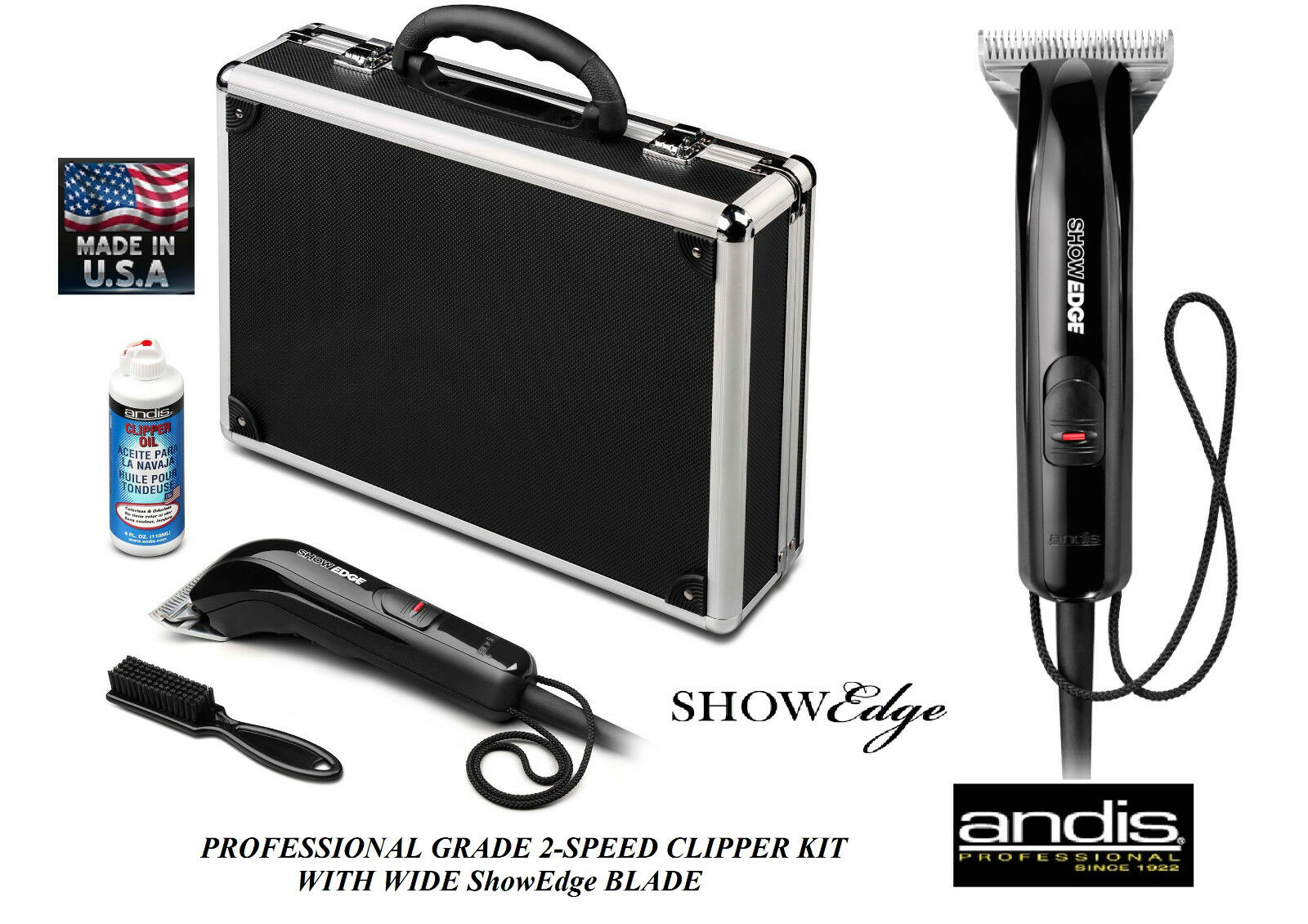 Andis Showedge Tosatrice Kit&ultraedge Lama Set, Custodia Cane Cavallo, Bestiame