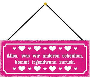 We Schenken Kommt Back Shield with Cord Tin Sign 10 X 27 CM K0726-K