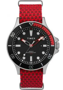 Orologio-Uomo-TIMEX-ALLIED-COASTLINE-TW2T30300-Tessuto-Rosso-Nero-NEW