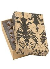 Jewelry Boxes 50 Black Tan Damask 3 116 X 2 18 X 1 Elegant Cotton Filled