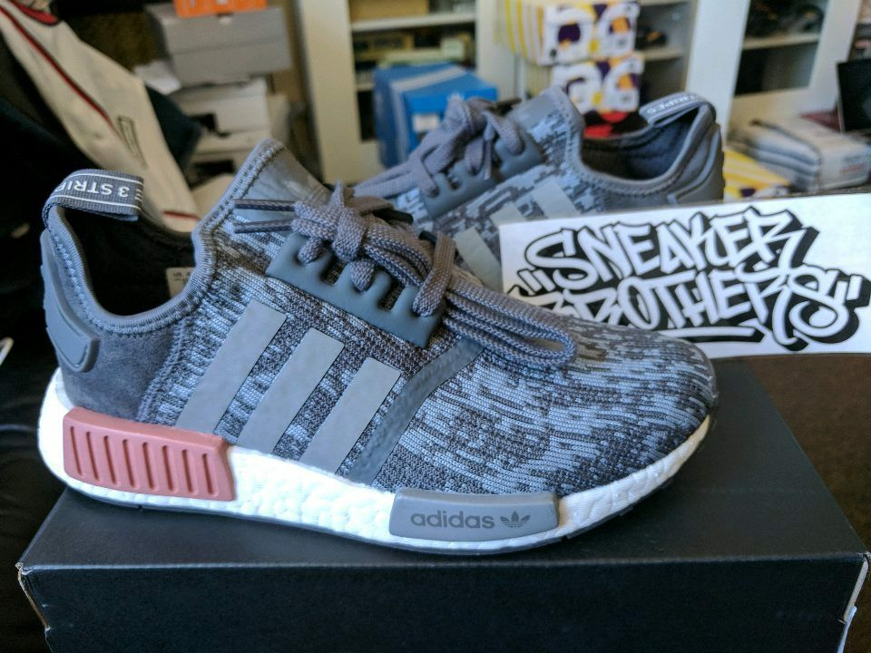 new concept 0515f 02422 Adidas NMD_R1 Runner W Nomad Women's Heather Grey Raw Pink 3M White BY9647  Boost