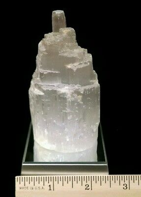 SELENITE Castle TOWER geode crystal  w/ Multi-Colored Turntable Light