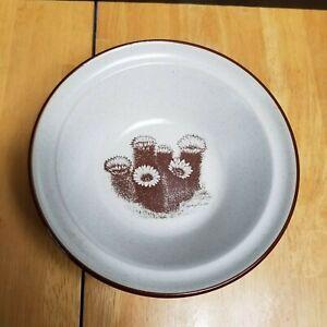 Noritake Desert Flowers Cereal Bowl Tan with Brown Hedgehog Cactus Flowers #8341