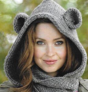 Cosy bear cowl (hat scarf in one) crochet pattern Aran 380 NOT the ... 7d04180040a