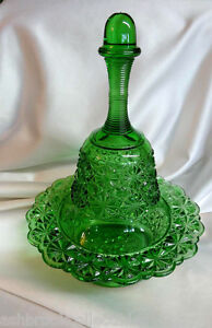 Antique-Green-Wright-Glass-Daisy-and-Button-Bell-on-Candy-Bowl-Dish-2pc-Set