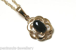 9ct Gold Black Onyx Teardrop Pendant a7rZzl