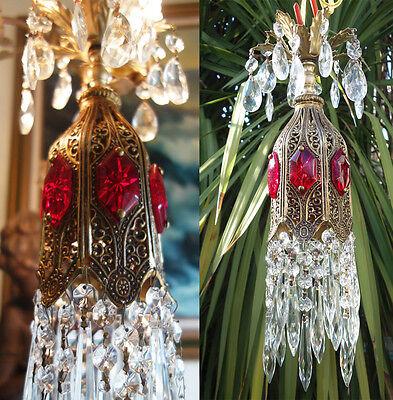 1o5 Ruby SWAG jeweled Tulip lily filigree hanging Crystal lamp Vintage chandelie