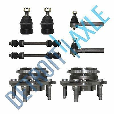 8 pc Kit 2 Wheel Hub Bearing w/ ABS + 2 Ball Joint + 2 Tie Rod + 2 Sway Bar Link