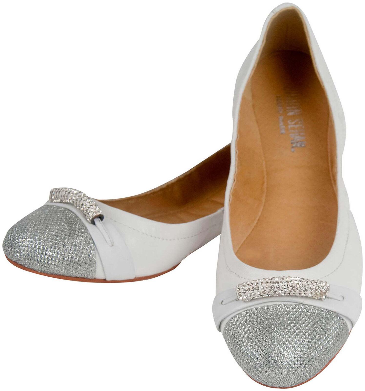 Ballerine Cuir Femmes Chaussure Stretch Paillettes Strass Blanc Argent einzelpaar taille 37
