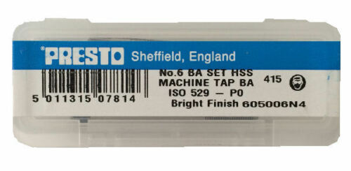 plug Presto UK 6BA Taps and Dies HSS First second Direct from RDGTools