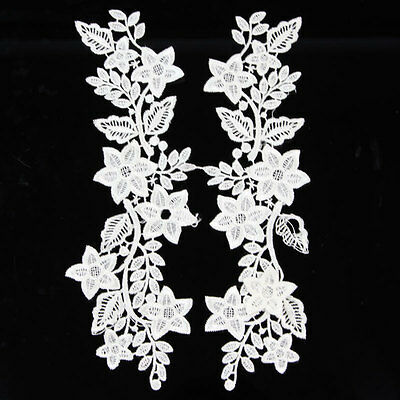 1 Pair Applique White/Black Polyester Venise Lace Trim Bridal Dress Sewing Craft