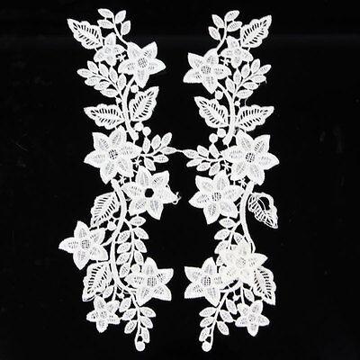 1 Pair Applique White/Black Polyester Venise Lace Trim Bridal Dress Sewing Craft