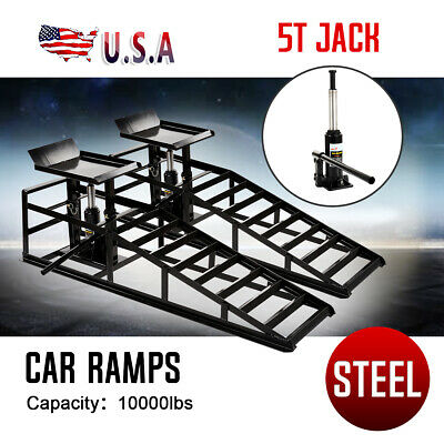 2x Hydraulic Vehicle Ramps 10,000lb.Capacity Portable Car Repair Frame Black US