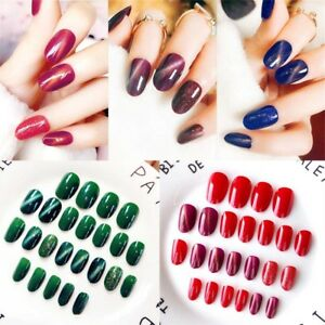 24-Pcs-Set-Full-Tips-Solid-Nail-Patch-Stickers-False-Fake-Nail-Art-With-Glue