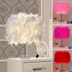 Metal-Vintage-blanc-plume-lampe-de-table-elegante-chevet-Bureau-lumiere-decor