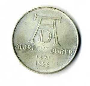 Moneda-Alemania-1971-D-5-marcos-Albrecht-Durer-plata-625-silver-coin-Deutsche