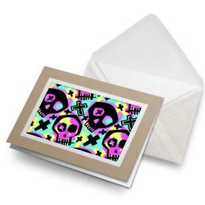 Greetings-Card-Biege-Pop-Art-Skulls-Death-Kids-Art-24488