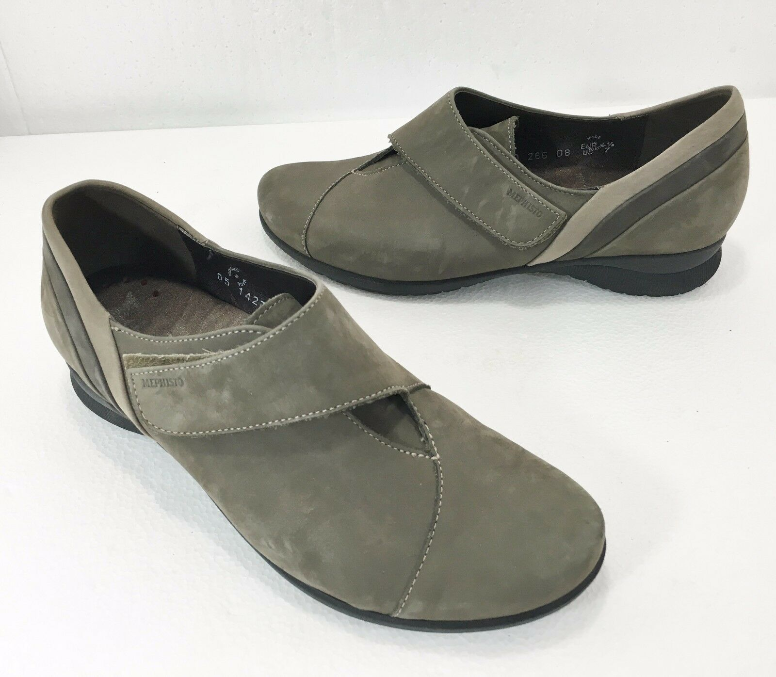 Mephisto Damenschuhe 7 Air-Jet Luce Gray Suede Walking Schuhes Velcro Closure