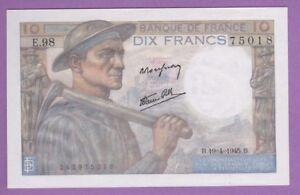 (ref: E.98) 10 Francs Mineur 19/04/1945. (neuf) Date Rare Uqm13o3c-07222241-217144702