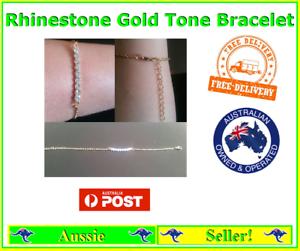 Rhinestone-Diamante-Bracelet-Chain-Gold-Tone-Fashion-Jewellery-NEW