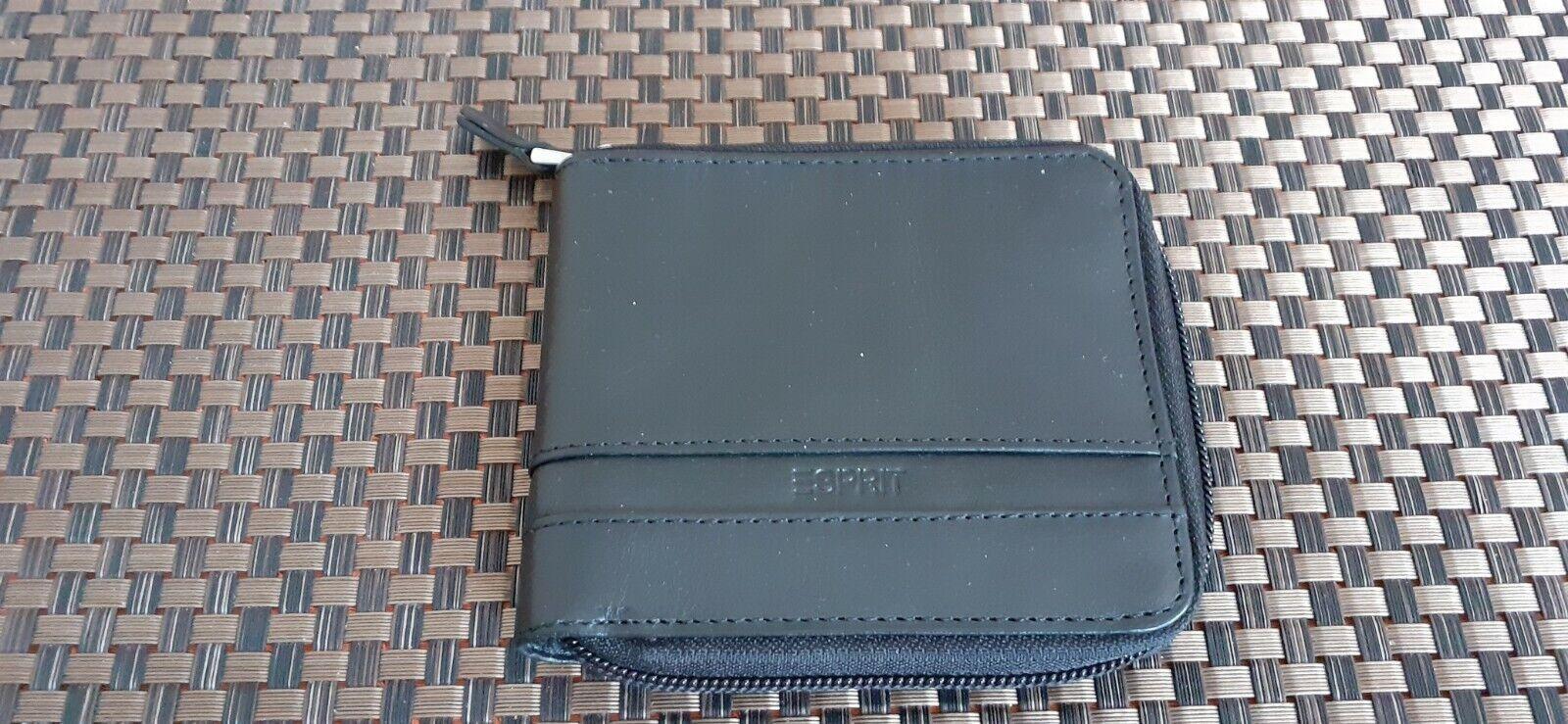 ESPRIT Rindsleder Reißverschluss Geldbörse Portemonnaie Geldbeutel Farbe schwarz