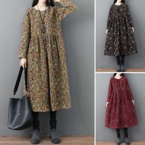 Mode-Femme-Robe-a-Imprime-Floral-Manche-Longue-Casual-en-vrac-Party-Dresse-Plus
