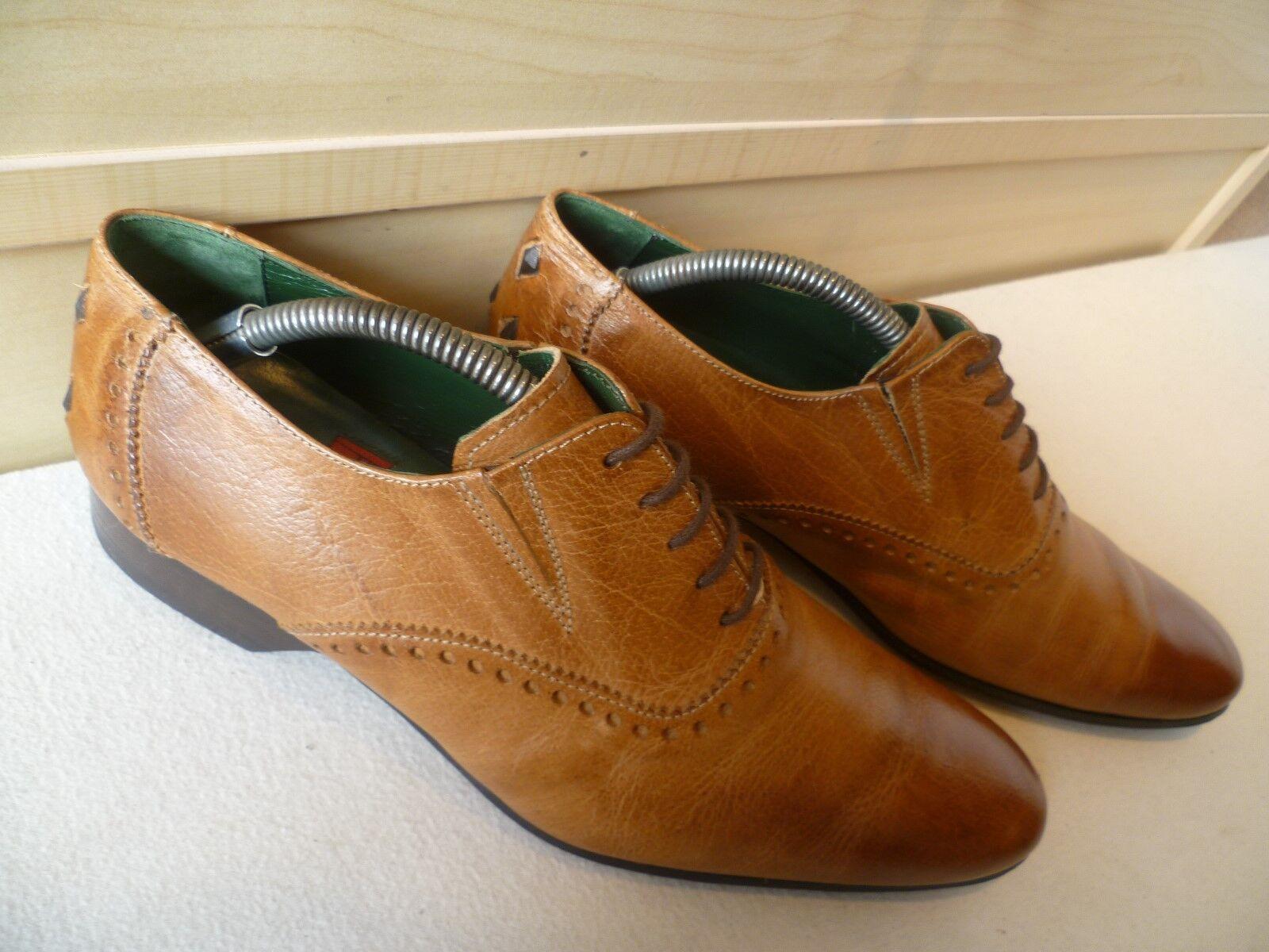 Jeffery West COMPLETO in Pelle Oxford Nero Linea A Punta perforata con lacci Scarpe classiche da uomo