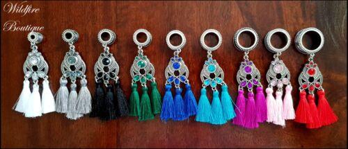 Pair 9 Rainbow Colours Crystal /& Tassel Pendant Dangle Ear Tunnels Plugs 6-30mm