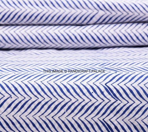Indian Indigo blue Fabric Hand Block New Flower Print 100/% Cotton Fabric 5 Yard