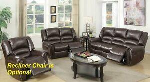 Motion Sofa & Loveseat Brown Bonded Leather Living Room Furniture Armrest Comfor
