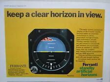 9/1971 PUB FERRANTI STANDBY ARTIFICIAL HORIZON AVIONICS INSTRUMENT ORIGINAL AD