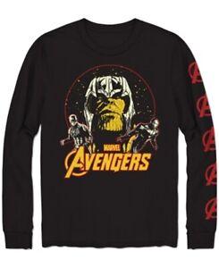 Marvel-Mens-T-Shirt-Black-Size-Large-L-Avengers-Crew-Graphic-Print-26-076