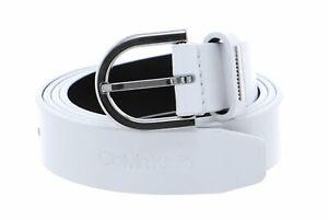 Calvin Klein Round Belt W80 Gürtel Accessoire CK White Weiß Neu